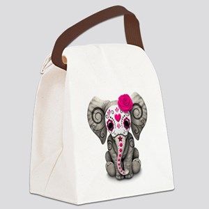 Pink Day of the Dead Sugar Skull Baby Elephant Can